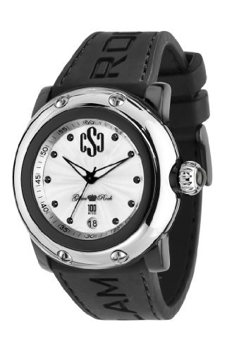 Glam Rock Unisex Quartz Watch With Silver Dial Analogue Display And Silicone Bracelet 0.96.2339