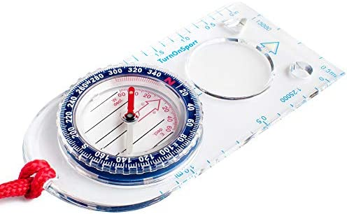 Blue Portable Flip cover Outdoor Hiking Plastic Compass For Camping Survival TO