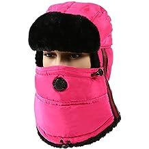 MOOKZZ Winter Trapper Fur Hat, Trooper Hats With Face Cover Men Women - Waterproof Unisex Ushanka Russian Hats, Windproof Bomber Cap