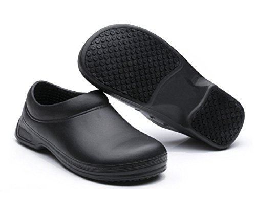 INiceslipper Unisex Chef Shoes Non-Slip Safety Shoes Oil Water Resistant Casual Flats Beach Shoes (7 US/37) - Black Leather Safety Shoe