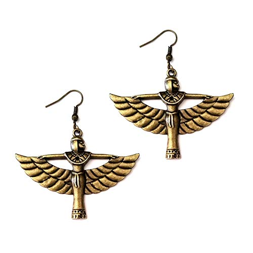 Joji Boutique Egyptian Collection: Antiqued Golden Winged Isis Goddess Drop Earrings