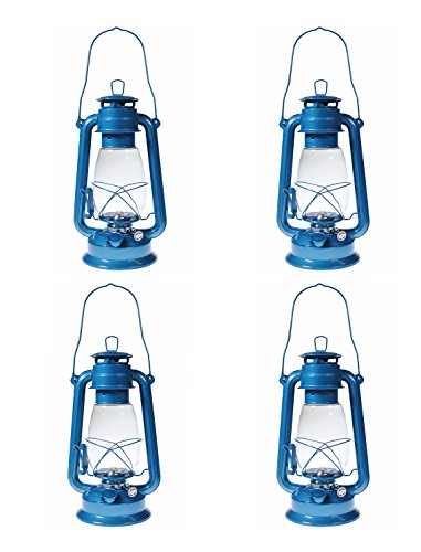 Shop4Omni S4O Hanging Hurricane Lantern/Elegant Wedding Light/Table Centerpiece Lamp - 12 Inches (4, Light Blue)