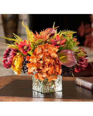 Spider Mums & Blackberries Silk Arrangement by Petals Silkflowers