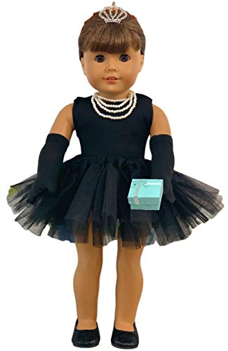MY GENIUS DOLLS Clothes and Accessories - Breakfast at Tiffany's Inspired - Fit 18 inch dolls like Our Generation, My Life as and American Girl Doll. With Gloves,Shoes,Tiara,Necklace.Doll not Included