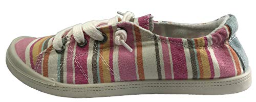 Forever Link Women's Classic Slip-On Comfort Fashion Sneaker, Pink Multi, 7.5