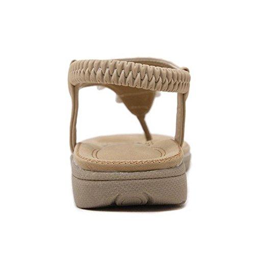 Coolcept Mujer Moda Clip Toe Elastico Sandalias Estilo Nacional Zapatos Albaricoque