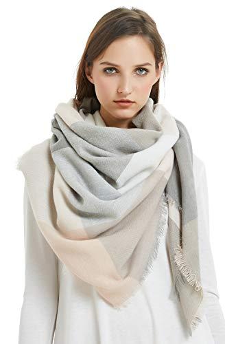 VIVIAN & VINCENT Women's Plaid Blanket Winter Scarf Warm Wrap Oversized Shawl Cape Pink Grey