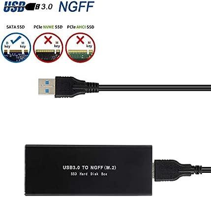 EasyULT Carcasa Externa para Discos Duros M.2 SATA a USB 3.0 SSD M.2, USB 3.0 UASP a SATA NGFF M.2 2230/2242/2260/2280 Key B o B & M SSD SuperSpeed ...