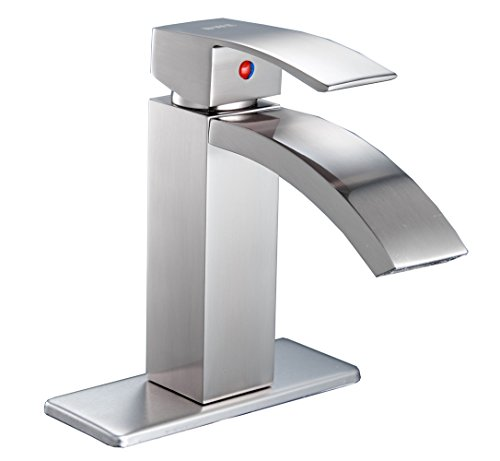 BWE Brushed Nickel Commercial Single Handle One Hole Deck Mount Waterfall Bathroom Sink faucet Lavatory