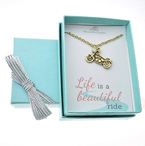 - Motorcycle Necklace In Gold Plated Pewter On A 18