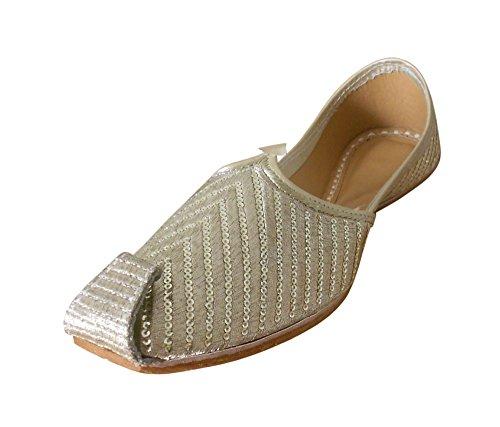 KALRA Creations Herren Schuhe Traditionelle Kunstleder indischen Party Silberfarben