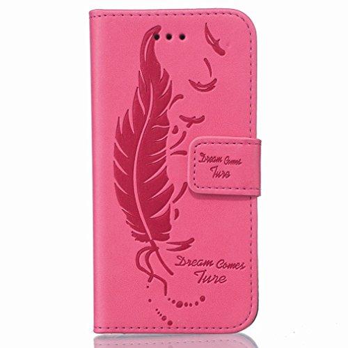Custodia Samsung Galaxy S7 Edge / G935F Cover Case, Ougger Portafoglio PU Pelle Magnetico Stand Morbido Silicone Flip Bumper Protettivo Gomma Shell Borsa Custodie con Slot per Schede, Sognare Piuma Ro