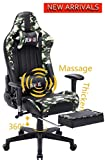 Large Size Computer Gaming Chair Ergomonic Racing Chair with Retractable Footrest,Execultive PU Leather