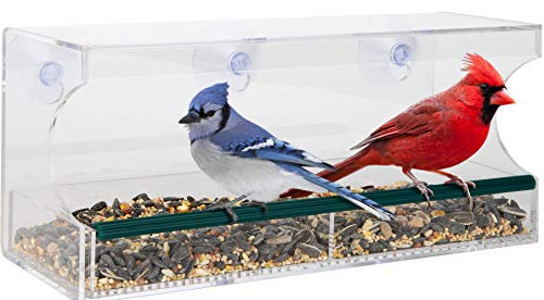 Red Earth Naturals Bird Feeders for Outside - Window Bird Feeder w/Removable Seed Tray Suction Cups & Drain Holes - Large All Weather Clear Acrylic Easy to Clean - Nice Gift