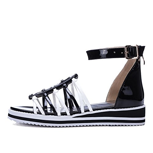 Heels Pu Color Sandals Low Zipper Womens AllhqFashion Black Toe Open Assorted xn1ASgw8