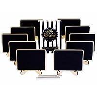 Accesorios de CB Pizarras con letreros de tarjetas de lugar de pizarra con tiza y caballete para regalos, suministros para banquetes, etiquetas de alimentos, decoraciones para fiestas, números de mesas de bodas: uso con marcadores de tiza (10 juegos)