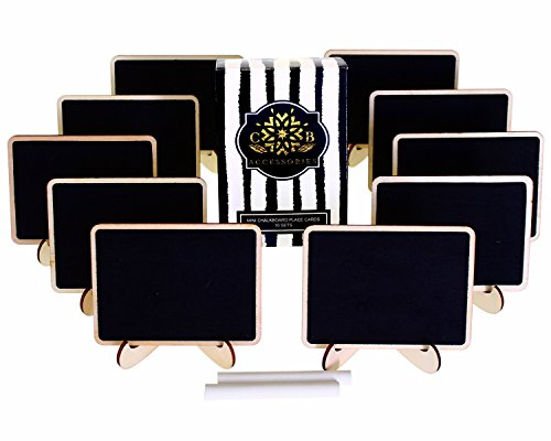 Mini Chalkboards Place Cards with Easel Stand and Erasable Chalk for Weddings, Food Signs, Party Supplies, Table Numbers, and Special Event Decoration (10 Sets)