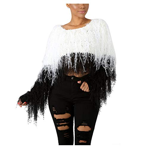 (Long Sleeve Sweaters for Women - Tassels Pullover Loose Sexy Batwing Sleeve Wool Knit Sweater Cardigan Winter Tops Black White, X-Large)