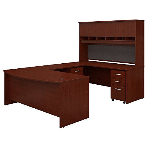 (Bush Business Furniture 72W Bow Front U Shaped Desk with Hutch and Storage in)