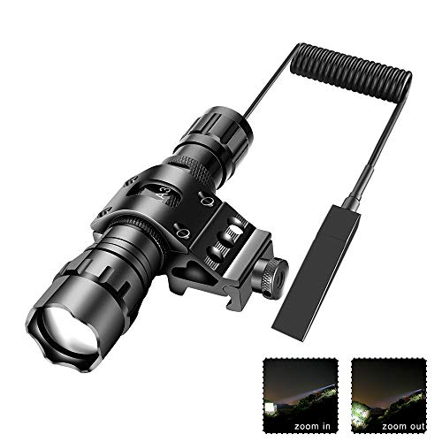 - Tactical Flashlight 1200Lumens Zoomable Super Bright LED Rail Light Waterproof with Rechargeable Battery, Pressure Switch, Picatinny Offset Mount for Hunting Camping Outdoors