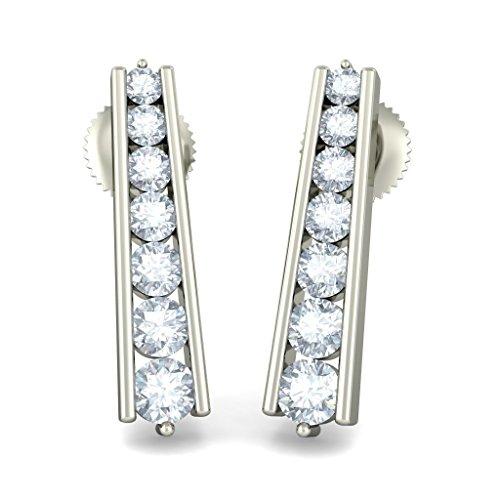 Or blanc 18K 0.534CT TW Round-cut-diamond (IJ | SI) Boucles d'oreille à tige