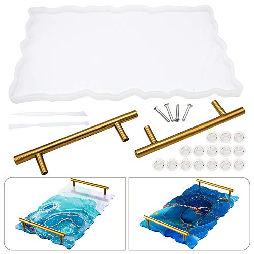 Silicone Resin Tray Molds - Geode Agate Platter Molds with 1pcs Geode Agate Tray Molds & 2pcs Gold Handles, Epoxy Resin Casting Molds for Making Faux Agate Tray, Serving Board (Gold).