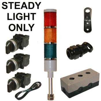 LED Tower Light Station Kit, 120V, Red/Yellow/Green, Off/Steady by LEDAndon