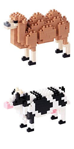 Two Domesticated Animals in Nanoblocks - A Cow and Bactrian Camel