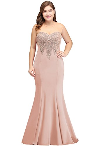 Prom Evening Gowns Formal for Women 2019 Long Lace Mermaid Dress Nude Pink 18W