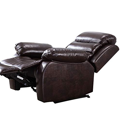 Romatlink Bonded Leather Sectional Recliner Sofa.Single Recliner Chair,with Manually Adjustable Reclining Chair Suitable for Living Rooms, Bedrooms, Apartments Brown