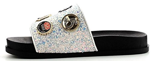 Cape Robbin Moira-25 Kvinnor Glider Vippan Glitter Metall Hängande Prydnad Sandal Vit Vit