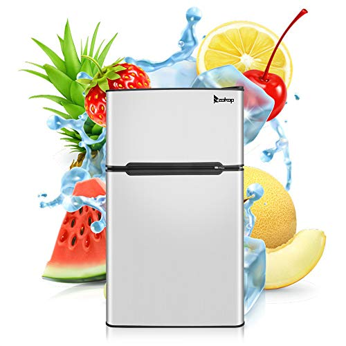 Kuppet 2-Door Mini Refrigerator Compact Refrigerator for Dorm,Garage, Camper, Basement or Office, Double Door Refrigerator and Freezer, Stainless Steel, 3.2 Cu.Ft, Silver