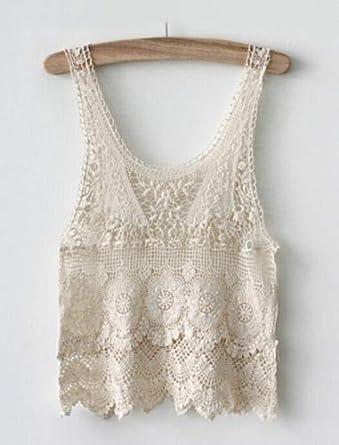 5fd3fedf3 Boho Mujeres Hippie Encaje Crochet Verano Camisetas sin Mangas Floja  Ocasional Camisa de la Blusa