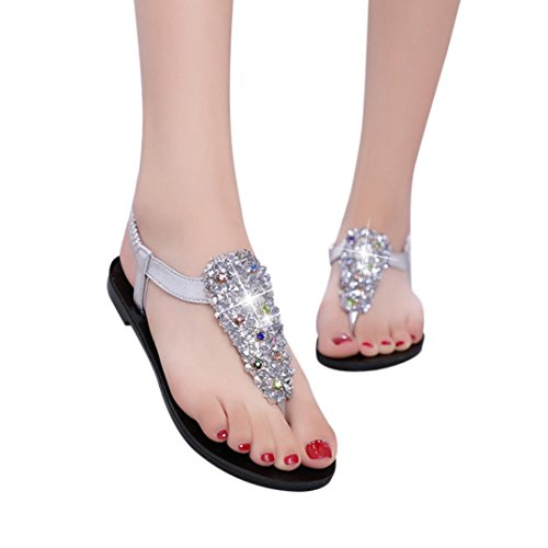 Flat Beach Women Colorful Round Bohemia Heel Teenage Silver Sandals Summer Crystal Girls TM Shoes Toe zwq7Fwf