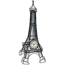 Ashton Sutton QA Metal Eiffel Table Clock, 7-Inch by 7-Inch by 17-Inch, Black Finish
