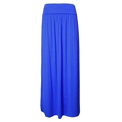 Mujeres plisado Fold Over cintura viscosa Jersey Maxi señoras longitud Gypsy Falda tamaños 8101214 azul real
