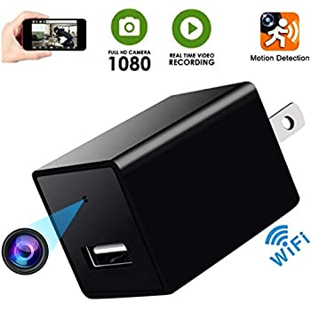 Hidden Spy Camera-1080P Full HD Hidden Camera- Surveillance Cam -WiFi Wall Charger Spy Camera- Mini USB Spy Camera - Nanny Cam- Home -Snap Smartcam -Motion ...