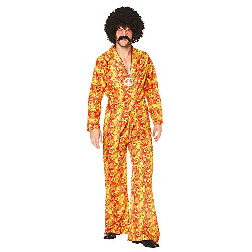 60s 70s Hippie Costume - Halloween Groovy Man Pimp Jacket Bell-Bottom, Large -