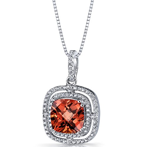 - Created Padparadscha Sapphire Cushion Cut Pendant Necklace Sterling Silver 4.25 Carats
