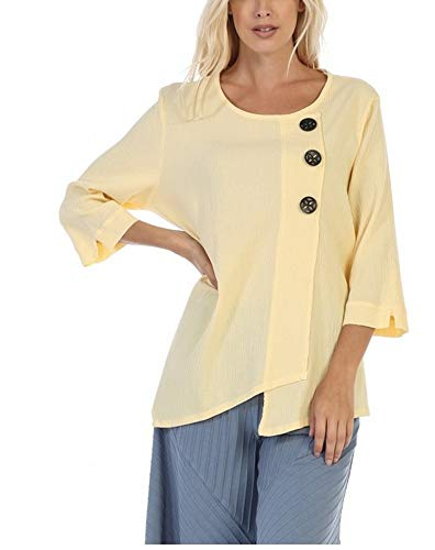 - Focus Fashion Women's Cotton Crinkle Gauze Tunic-CG102 (Small, Yellow)