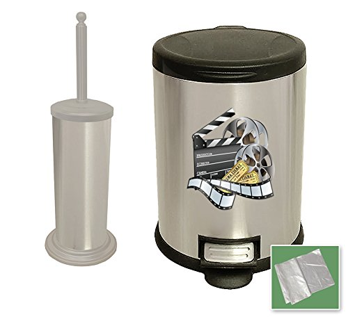 New Set - 3.1 Gallon Oval Stainless Steel Step Trash Can Waste Basket and a Stainless Steel Finish Toilet Brush Featuring Your Choice of a Novelty Themed logo! (Movie Reel)