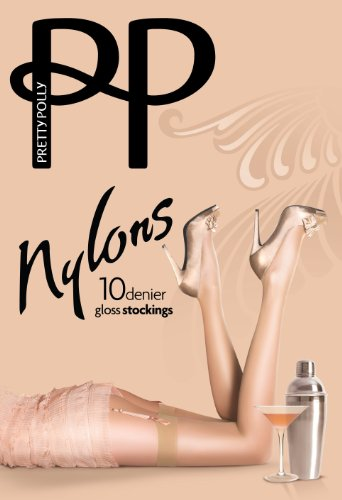 Gloss Stockings - Pretty Polly Womens Nylon Gloss Stockings, Sherry, Medium Large