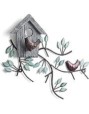 WGFKVAS Metal Birds Wall Decor, Metal Tree with Birdhouse Wall Art, Metal Leaf Wall Decor, Cast Iron Wall Decor, Hanging Decorations for Outdoor, Indoor, Garden, Back Yard, Patio, Home, Rustic