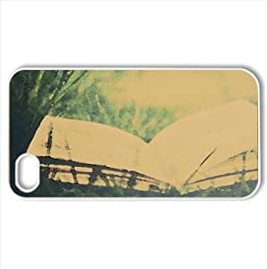Open Book On Green Grass Watercolor style Cover iPhone 4 and 4S Case (Summer Watercolor style Cover iPhone 4 and 4S Case)