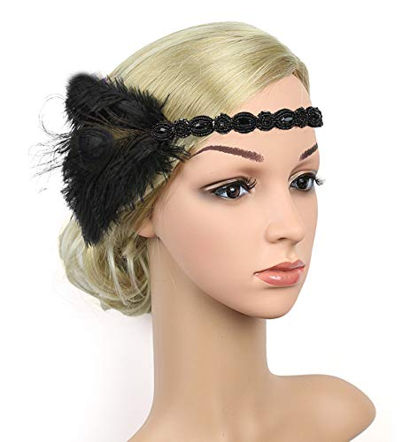 1920s Gatsby Flapper Feather Headband 20s Accessories Roaring 20s Headpiece with Peacock Feather (Black&Black)
