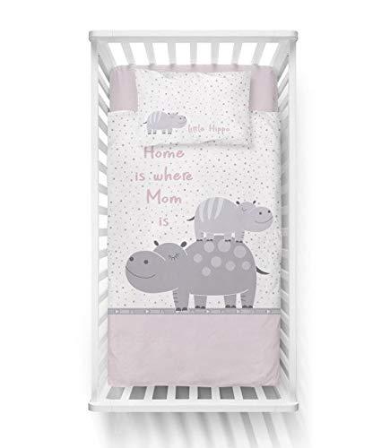/ÖkoTex Standard 100 Baby Bettw/äsche Set 2tlg 40x60 cm Flusspferd 100/% Baumwolle Gr/ö/ße: 90x120 cm