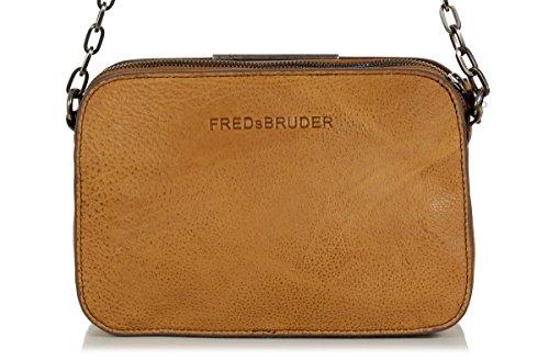 FREDsBRUDER 'Pralina' bolsa de mensajero - la bolsa de gamuza encerado y piel de vaca (24 x 17 x 9 cm) Brown (oscuro Camel)
