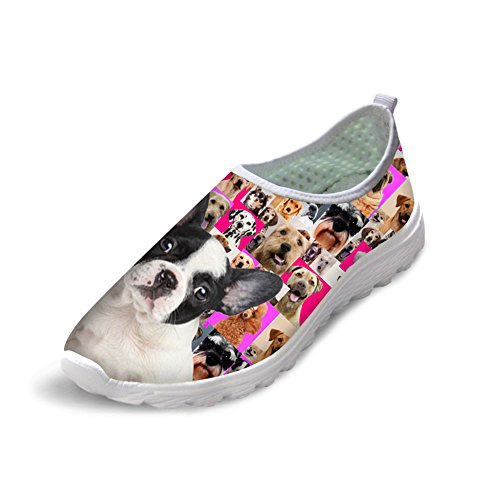 Female Boston Terrier Print Comfy Running Shoes Sneakers 40 6A8MlXcYi