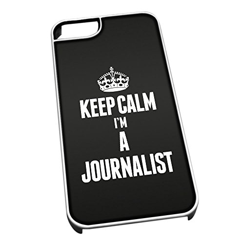 Bianco cover per iPhone 5/5S 2612 nero Keep Calm I m A Journalist