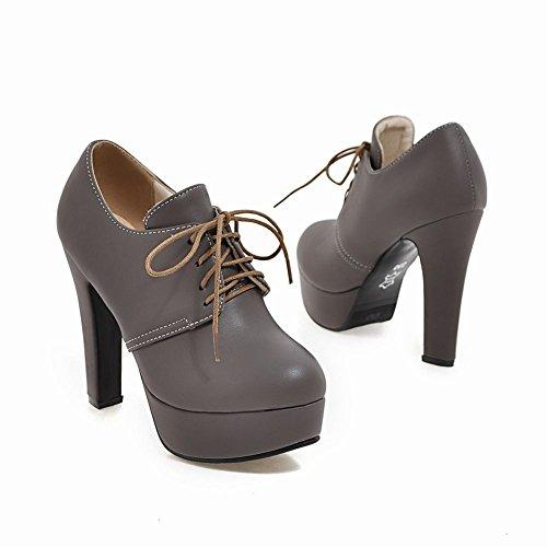 Pied De Charme Femmes Lacets Plateforme Haut Talon Oxfords Chaussures Gris